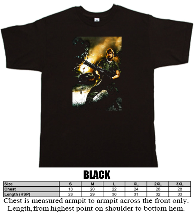 Missing in Action Chuck Norris action war karate movie black T shirt