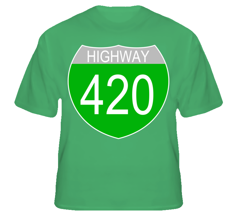 Highway 420 Funny Weed Pot Green T Shirt T shirt