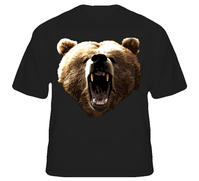 Grizzly Bear Wild Animal Biker Rapper Rocker T shirt