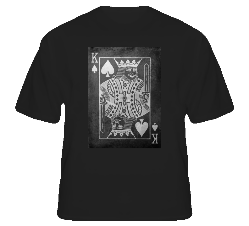 King of Spades poker cards gambling Vegas club college t shirt
