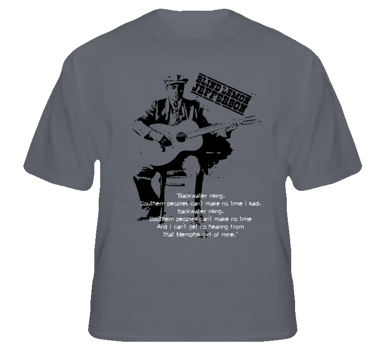 Blind Lemon Jefferson blues music king Texas legend guitar t shirt