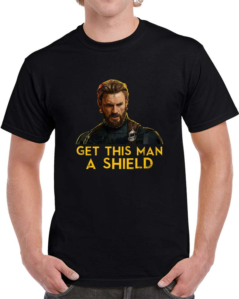 Get This Man A Shield Captain America Avengers Fan Cool Movie T Shirt