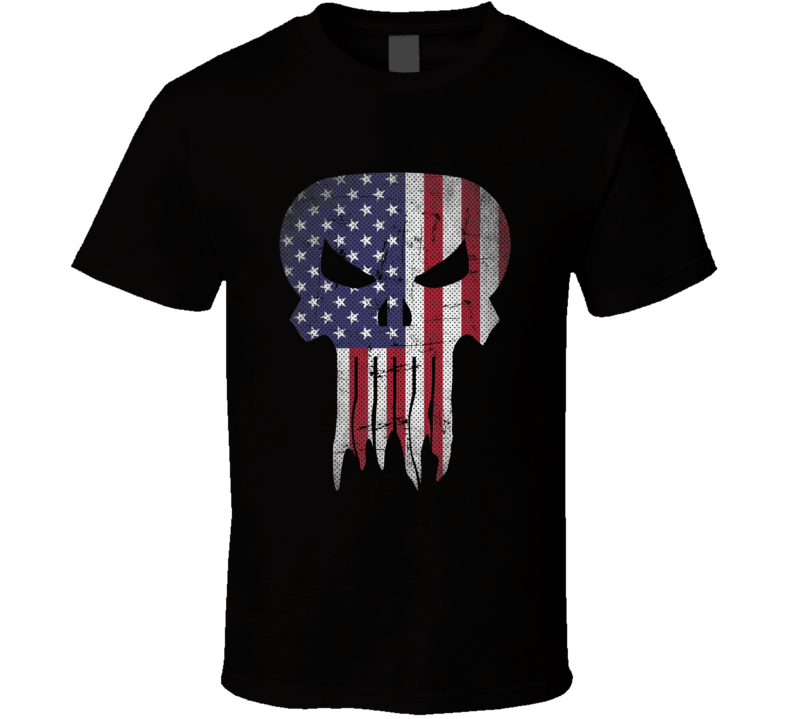 Usa Punisher Flag Logo Parody Super Hero Cool Fan T Shirt