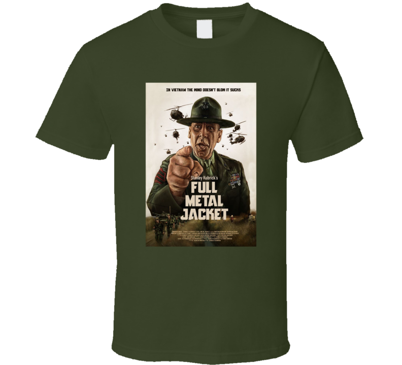 Full Metal Jacket Kubrick Movie Fan Cool War Film Poster T Shirt