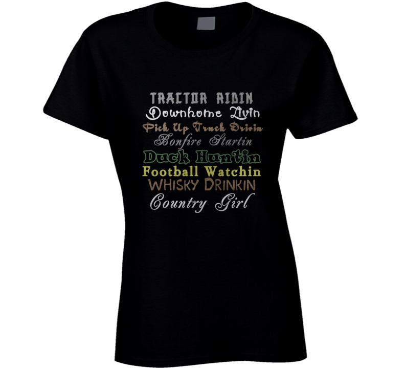 Country Girl Tractors Bonfires Football Whisky Fan T Shirt