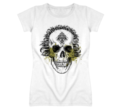 Skull Design biker bartender ladies fitted t shirt