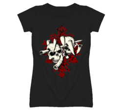 Skulls hot biker bartender ladies fitted t shirt
