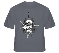 Skulls Swords Japan Warlord Biker MMA FIghter fan t shirt